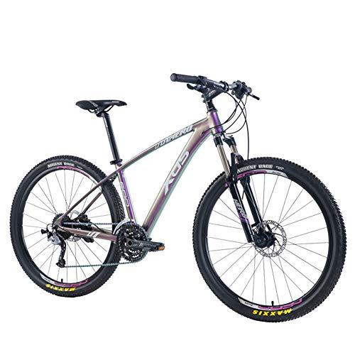 NENGGE Mountain Bike 27.5 Pollici per Uomo Donna, Leggero Adulti Bicicletta Mountain Bike 27 velocità, Bambini Biammortizzata Biciclette da Montagna, Freno a Disco Idraulico,Fog Gradient Color,B