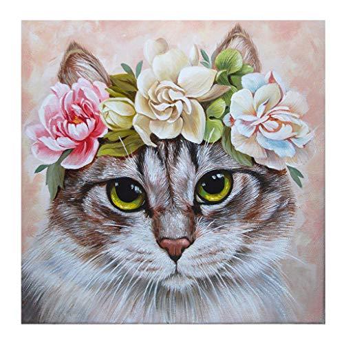 MXJSUA 5d Diamond Painting Kits Full Round Drill Strass Bilder für Home Wall Decor 30x30cm Katze mit Blumen