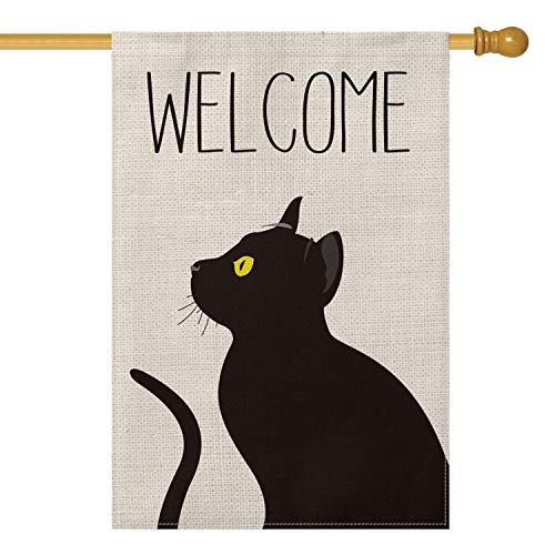 AVOIN Black Cat Welcome House Flag Vertical Double Sized, Pet Lovers Halloween Yard Outdoor Decoration 28 x 40 Inch