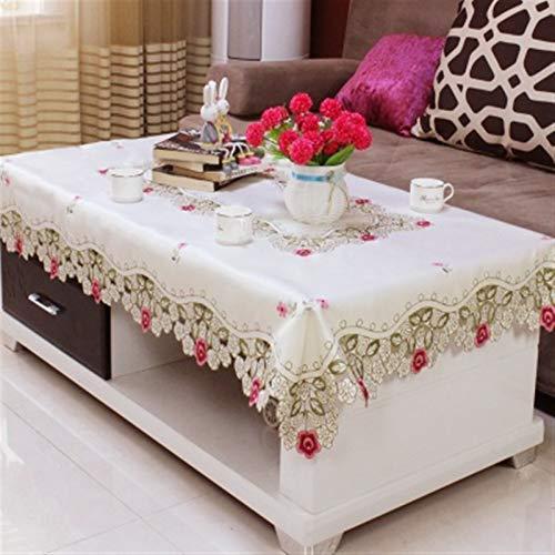 QL Elegante y Lujoso Inicio Hotel Dining Wedding White Rojo Mesa De Mesa con Encaje Bordado Mantel Rectangular Floral A Cubiertas De Mesa Regalos navideños (Color : D, Specification : 110x110cm)