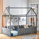 House Twin Bed for Kids, Twin Size Bed with Roof and Fence, Wood Bed Frame for Kids, Teens, Girls & Boys, Easy Assembly (Gray)
