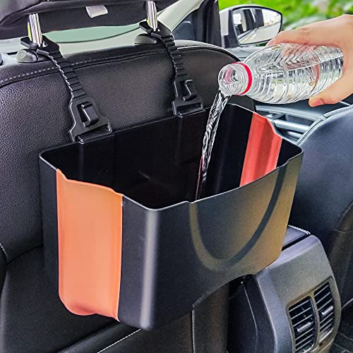 PZOZ Upgrade Hanging Car Trash Can, Collapsible Portable Waterproof Garbage Bag with Clip Small Car Organizer Holder Storage Pockets Container, Mini Bin for Front Back Seat Accessories (Black Brown)
