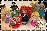 PRINCESAS DISNEY AMIGURUMI PERSONALIZABLE ( Bebé, crochet, ganchillo, muñeco, peluche, niño, niña, lana, mujer, hombre ) MODA, ORIGINAL, FANTASÍA