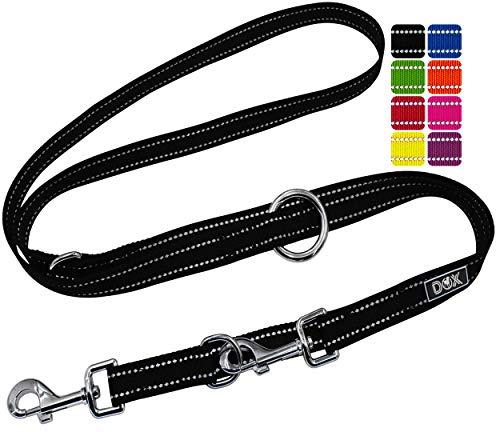 DDOXX Hundeleine Nylon, reflektierend, 3fach verstellbar, 2m | für kleine & große Hunde | Doppel-Leine Zwei Hund Katze Welpe | Schlepp-Leine | Führ-Leine | Lauf-Leine Welpen-Leine | S, Schwarz