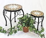 DanDiBo Blumenhocker Mosaik Rund 2er Set 20 und 27 cm Blumenständer 12014 Beistelltisch Pflanzenständer Mosaiktisch Klein