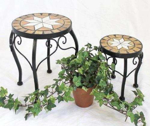 DanDiBo bloemenkruk mozaïek rond set van 2 20 en 27 cm bloemenstandaard 12014 bijzettafel plantenstandaard mozaïektafel klein