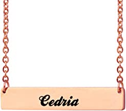 Love Wind Engraved Bar Necklace Personalized Name Necklace Nameplate Necklace