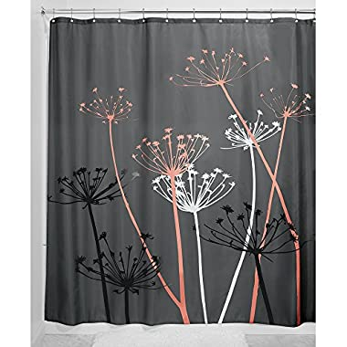 InterDesign Thistle Shower Curtain, Standard - Gray and Coral