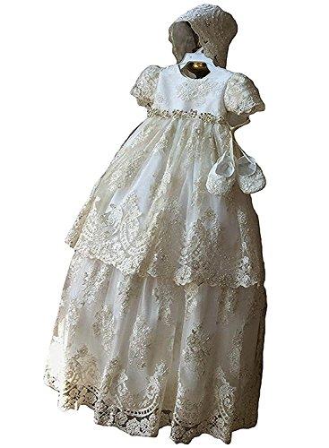 Kengtong Spitze Baby Lang Taufkleider Mädchen Kleid Taufkleid festlich Hochzeit Kommunionkleider (Elfenbein, 12-18Monate)