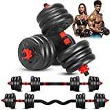 Adjustable Weight Dumbbell Barbell Set, 3-In-1 Dumbbell Set, 44 Lb Free Weight Dumbbell, with Curved Bar Connector, for Women Men Workout Fitness, Home Gym Exercise Training Dumbbell Sets