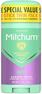 Mitchum Antiperspirant Deodorant Stick for Women, Triple Odor Defense Invisible Solid, 48 Hr Protection, Shower Fresh, 2.7...