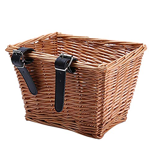 Takkar Bike Basket, Wicker Square Bike Basket Portable Hand-Woven Shopping Basket Folk Craftsmanship Bicycle Storage Basket with Adjustable Leather Straps, for Children or Adults Bicycles,25 x19x16cm