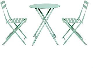 ZWD Mesas y Sillas, 3 Piezas de Metal Plegables para jardín Jardín al Aire Libre Patio Muebles de balcón Mesa de té pequeña combinación 1 Mesa y 2 sillas | 5 Colores Mueble