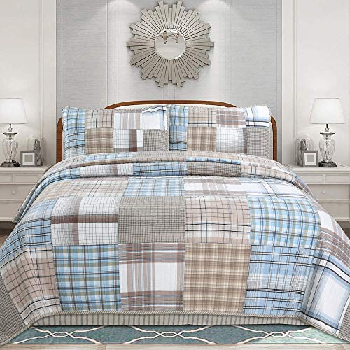 Cozy Line Home Fashions Hank Blue Grey Brown Plaid Grid Patchwork 100% Cotton, Reversible Coverlet, Bedspread, Quilt Bedding Set (Hank Patchwork, Queen -3 Piece)