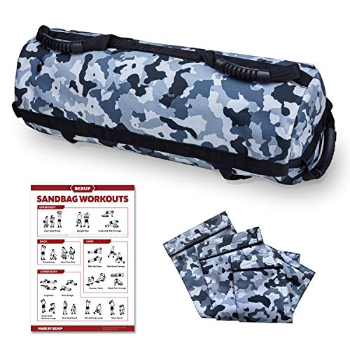 BESUP Sandbags for Fitness, Sand Bags with 6 Durable Handles and 10-60 Lbs Filler Bag, Adjustable Sandbag Heavy Duty Workout for Exercise and Military Conditioning (Sand NOT Included)