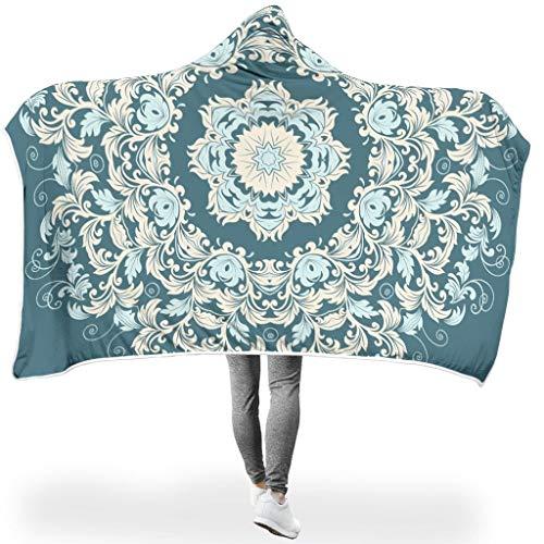 Lind88 Bademantel mit Kapuze, Blaugrün, Mandala-Motiv, Mikrofaser, indischer Stil, groß, geeignet für Mittagspause, Fleece, weiß, 60x80 inch