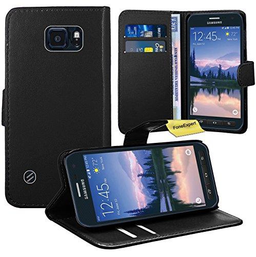Samsung Galaxy S6 Active Handy Tasche, FoneExpert® Wallet Hülle Flip Cover Hüllen Etui Ledertasche Lederhülle Premium Schutzhülle für Samsung Galaxy S6 Active