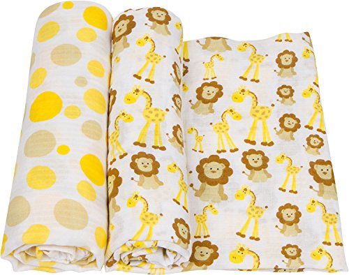 miracleware Muslin nouveau-né Blanket, Giraffes & Lions, 2 Piece by miracleware