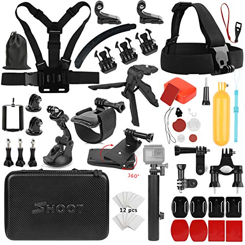 SHOOT Must Have Accessories Kit with Carrying Case for OSMO Action Camera,GoPro Hero 8 HERO7 Black Silver White/6/5/4/3+/3/5 Session for Surfing
