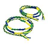 [ATK21] (2本セット)ペア カップル ミサンガ Missanga アンクレット メンズ レディース お守り ミックスカラー コードアンクレット (イエロー×ブルー×グリーン)