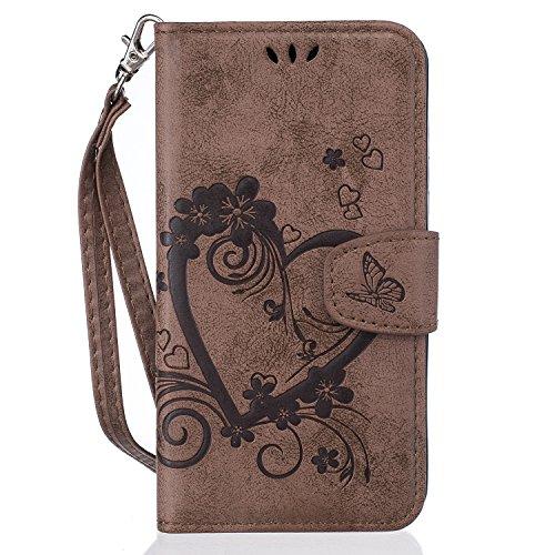 Docrax Galaxy S5 Handyhülle, Hülle Leder Case mit Standfunktion Magnetverschluss Flipcase Klapphülle kompatibel mit Samsung Galaxy S5/G900F - DORXZ020329 Braun