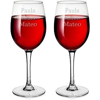 Copa de vino personalizable de 240 ml en caja de regalo con forro de seda: Amazon.es: Hogar