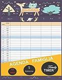 Agenda Famiglia - Family Timer - 5 Colonne - 12 mesi: Agenda Famiglia Calendario non datata con 5 colonne. Calendario perfetto per organizzare ogni ... famiglia. Planner mensile misura 22 x 28 cm