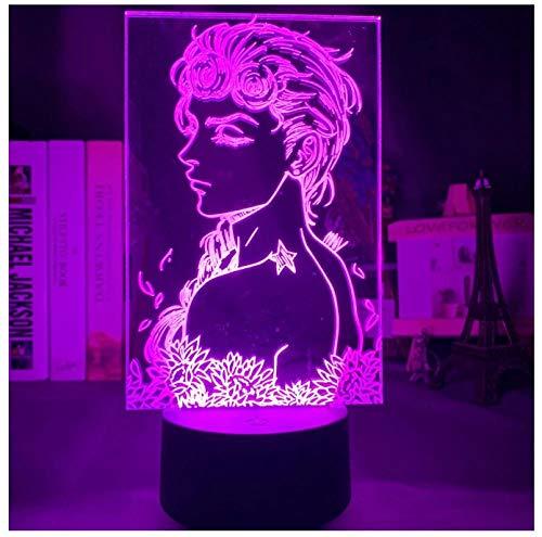 3D LED Luz de noche LED Ilusión óptica Lámpara de mesa 7 colores con Acrílico Plano & ABS Base & usb [Clase de eficiencia energética A] Hombre de flores de jardín-Touch+Remote