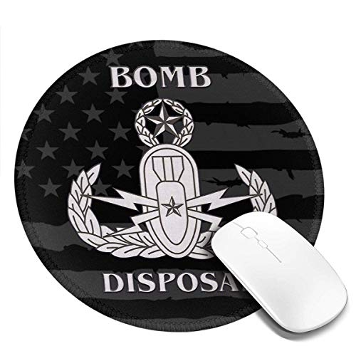 Statische bom weggooien EOD Badge gestikte randen muismat, Computers Laptop muismat, anti-slip rubberen muis, glad Gaming Mouse Pad 20CM