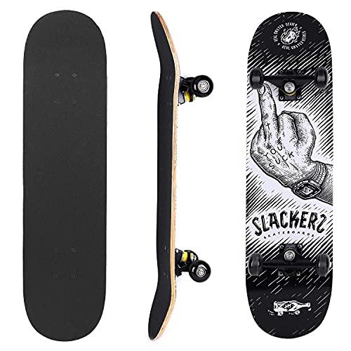 RORA Monopatín Completo Skateboard para Principiantes 31'x8' rodamientos ABEC-7 Tabla de para Niñas Niños Adolescentes Adultos (Cool)