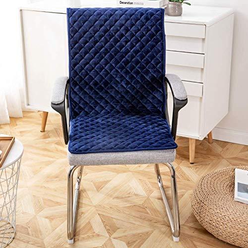 XHNXHN Juego de fundas antideslizantes para sillas de comedor, terciopelo largo, cojín integrado para silla mecedora siamesa, cojín de banco para interiores y exteriores, color azul 40 x 135 cm