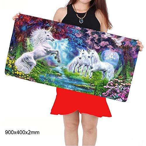 HONGHUAHUI wit paard dier spel DIY foto rand vergrendelen grote muis mat 300x700X2MM A02