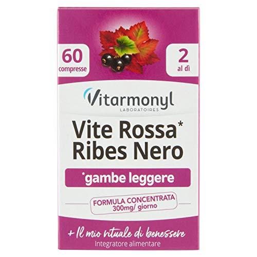 Vitarmonyl Integratore Alimentare per Gambe Leggere Vite Rossa Ribes Nero, 60 Compresse