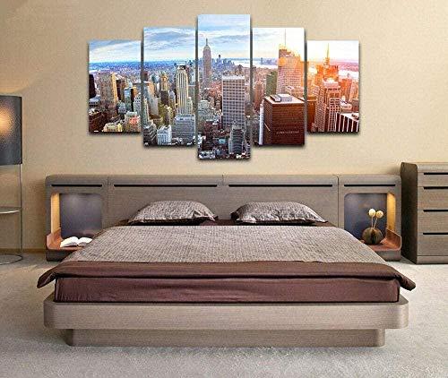 5 Quadri su Tela New York City Grattacieli Immagine di pittura solare Sfondi modulari Soggiorno Moderno