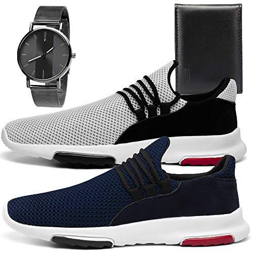 Kit 2 Tênis Sneaker Leve Sport Masculino Conforto Sapatofran Com Relógio Metalizado e Carteira (41, BRANCO-MARINHO)