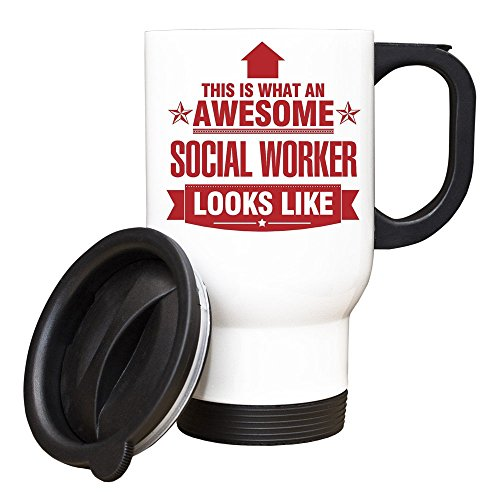 Duke Gifts Rouge Travailleur Social This is What an Awesome Looks Like Mug de Voyage Blanc