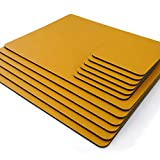 Juegos de 8 manteles individuales de cuero reciclado amarillo mostaza (28 cm x 21 cm) y 8 posavasos de cuero reciclado. Hecho en el Reino Unido por Lara-May.