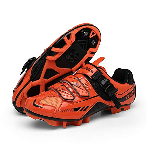 WYUKN Zapatillas de Ciclismo MTB para Hombre,Zapatillas de Bicicleta Profesionales Zapatillas de Bicicleta de Montaña con Bloqueo Automático,Orange-41EU=(255mm)