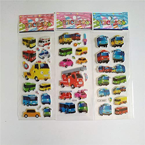 Pegatinas para coche, diseño de autobús pequeño para nevera, monopatín, Doodle, juguete de burbujas, anime, 60 unidades