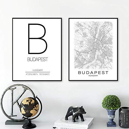Schwarz Weiß Budapest Stadtplan Leinwand Malerei Budapest Koordinaten Ungarn Home Wandkunst Druck Modern Nordic Dekorative Bild 50x70cmx2pcs ohne Rahmen