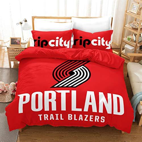 AMON LL BeddingUltra zachte microvezel Comforter Set, 3D NBA Portland Trail Blazers Basketbal Bedrukte Set voor jongens tieners