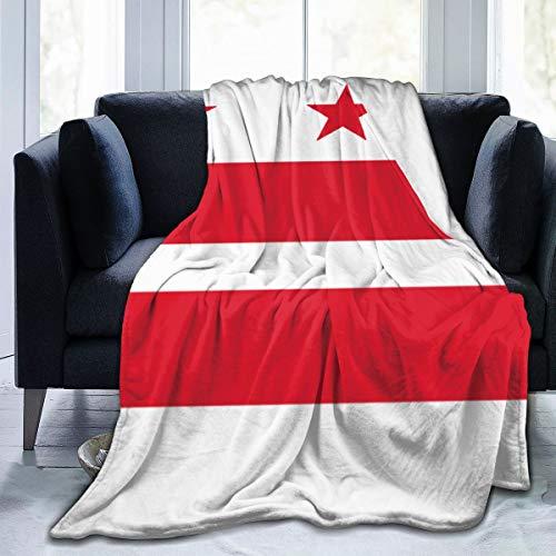 ZQHRS Linda Manta Suave de Felpa Manta para niñas Manta de Lana Negra Regalos para niños Adultos Mujeres, Rojo Blanco Bandera de Washington DC 50x40 Pulgadas