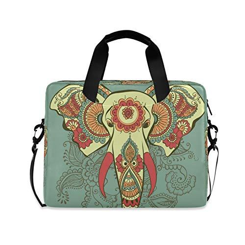 Yulife Indian Elephant Vintage Laptop Bag Sleeve Case for Women Men Briefcase Tablet Messenger Shoulder Bag with Strap Notebook Computer Case 14 15.6 16 Inch for Kids Girls Business