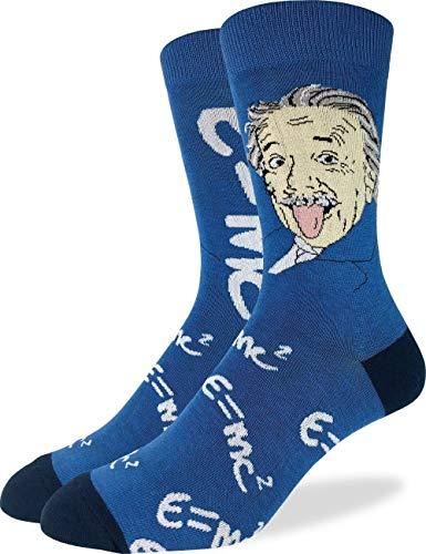 Good Luck Sock Herren Albert Einstein Crew Socken, Blau, Schuhgröße 40-47
