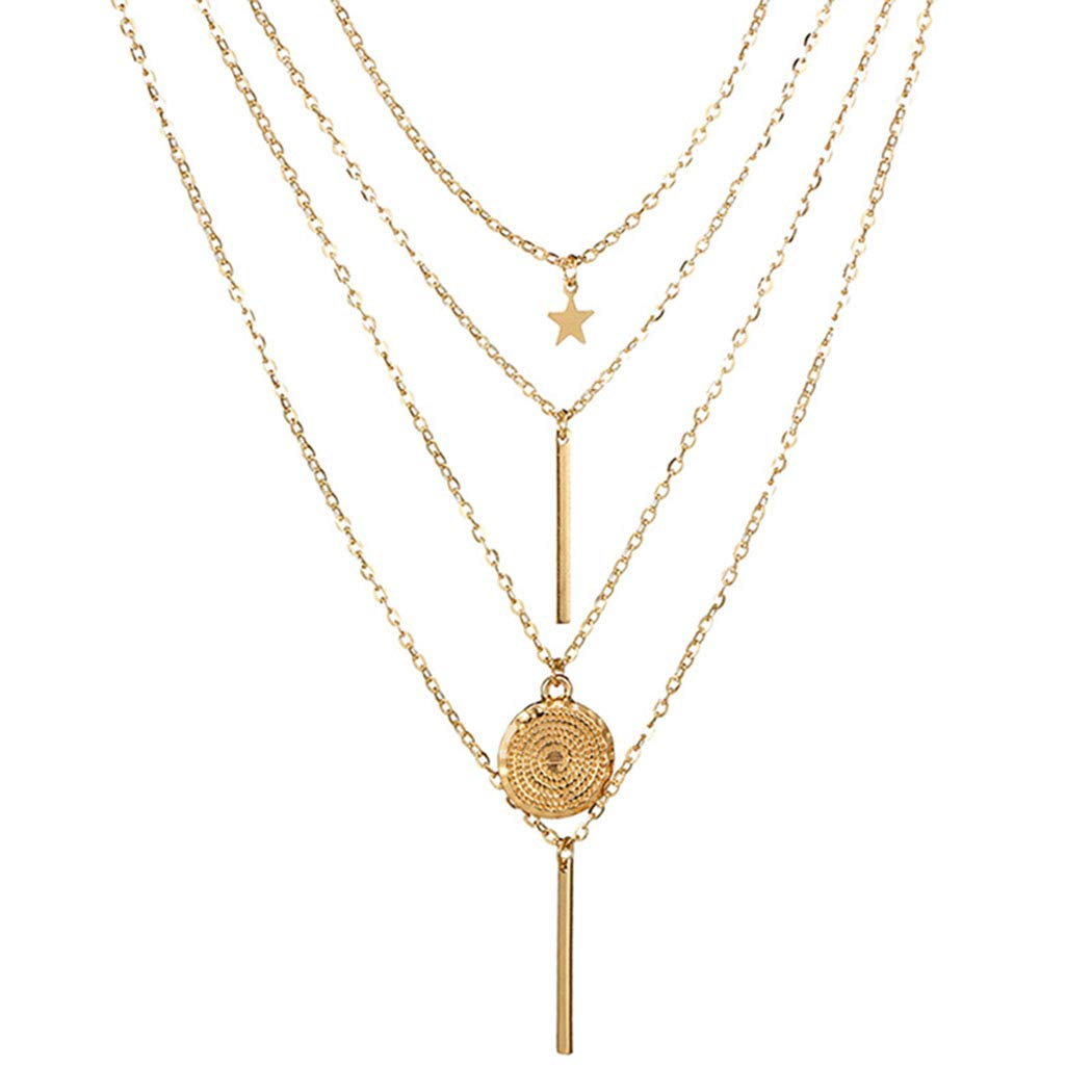 Aluinn Bar Multilayer Necklaces Gold Fashion Star Y-Necklace Disc Coin Sequins Pendant Necklace Jewelry for Women Night Party