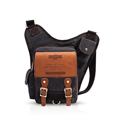 FANDARE Vintage Sling Bag Sacs à Dos Porté Crossbody Bag Voyage Hiking Bag Cycling Sac Bandoulière Trekking Déséquilibrer Porter des Hommes Toile