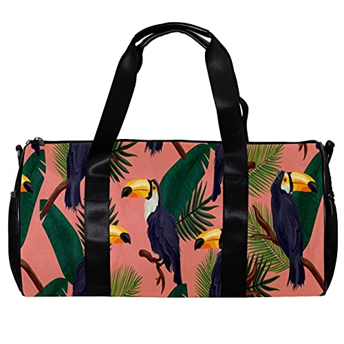 Borsone da palestra rotondo con tracolla staccabile con motivo uccelli tucano verde foglie tropicali rosa allenamento borsa per la notte per donne e uomini