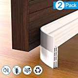 Under Door Draft Stopper,2 Pack Door Bottom Seal Weather Stripping, Door Draft Blocker, Soundproof Door Sweep Weather Stripping for Doors, 2' W x 39' L, White