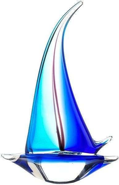 Zingz Thingz SAILOR BOAT ART GLASS STATUE BLUE