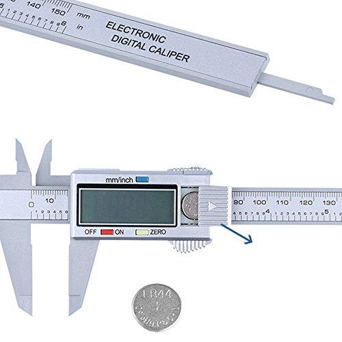 Tensay Digitaler Elektronische Kohlefaser Messschieber 150mm / 6-Zoll mit groem LCD-Display für Außen Innen und Tiefenmaß